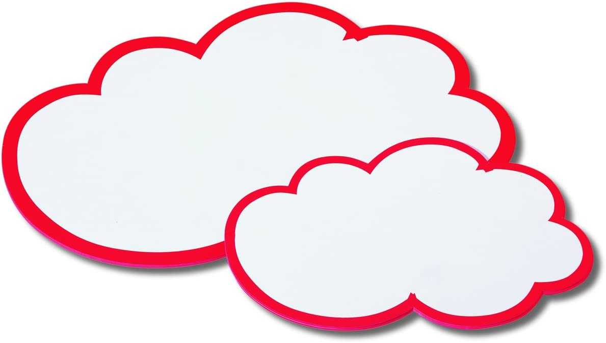 Nobo 1901317 Presentation Cards Cloud Shapes 170 g//m/² 420 x 250 mm 20 Sheets White with Red Border