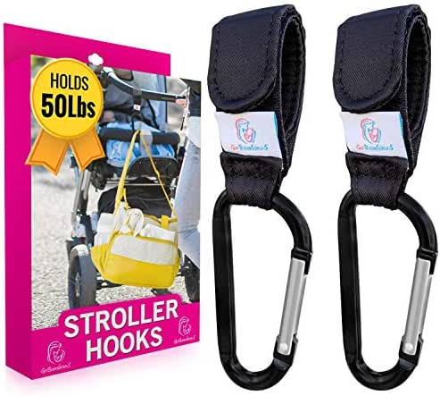Stroller Hooks - Set of 2 Mom Hook Stroller Straps and Carabiners - Durable Clips Hold 50lbs for Hands Free Diaper Bag Storage So You Can Care for Your Baby