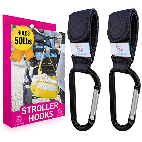 """GOBAMBINOS Stroller Hooks for Diaper Bags - Set of 2, Velcro Straps and Carabiners, Holds 50 lb, 6.7"""" - Hands-Free Storage for Baby Backpacks, Purses"""
