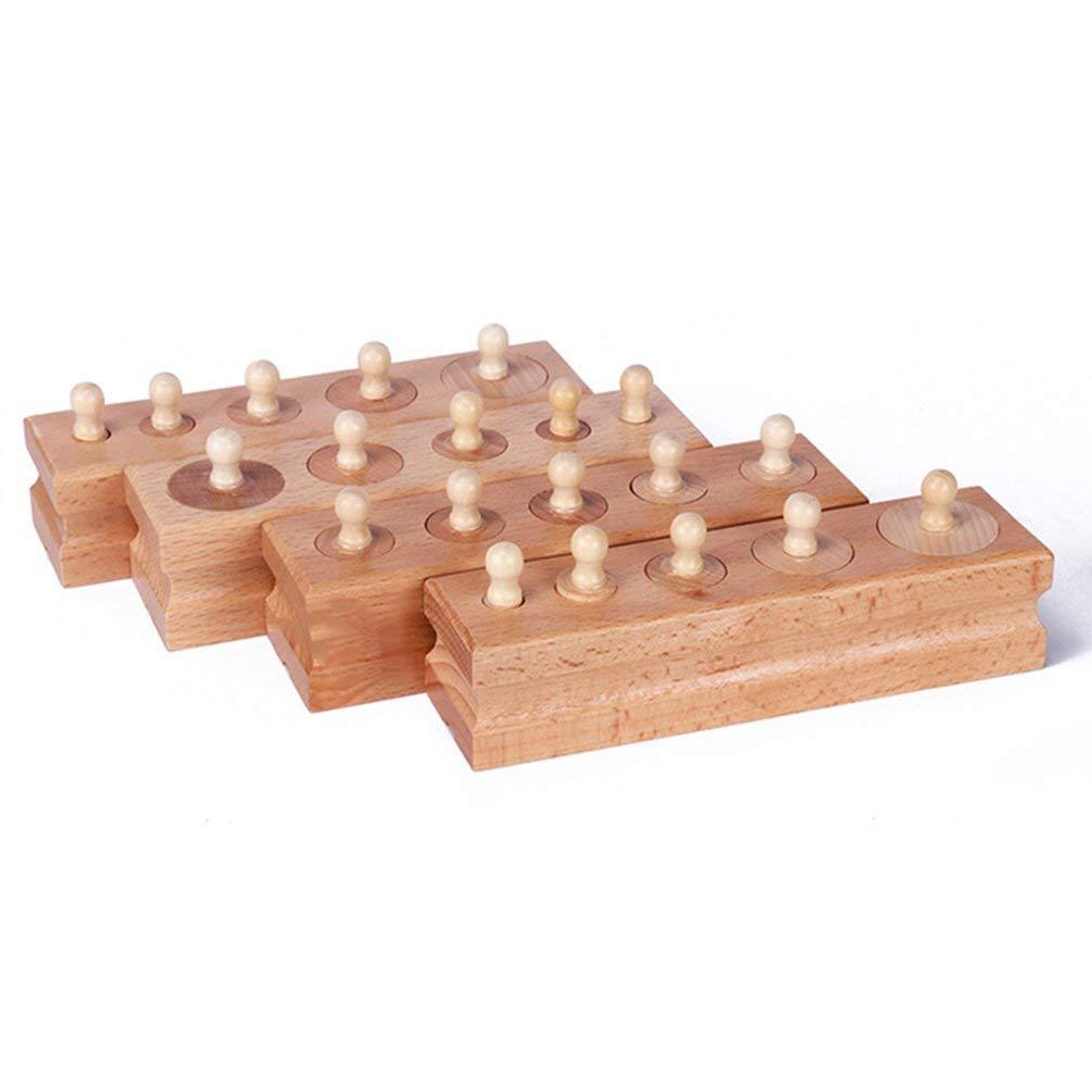 TAOHOU Montessori Materiales Montessori Juguetes Juegos educativos Cilindro Socket Bloques de Madera