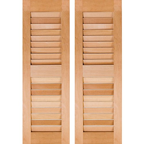 "RWL12X026UNP Exterior Real Wood Pine Louvered Shutters (Per Pair), 12"" x 26"", Unfinished"