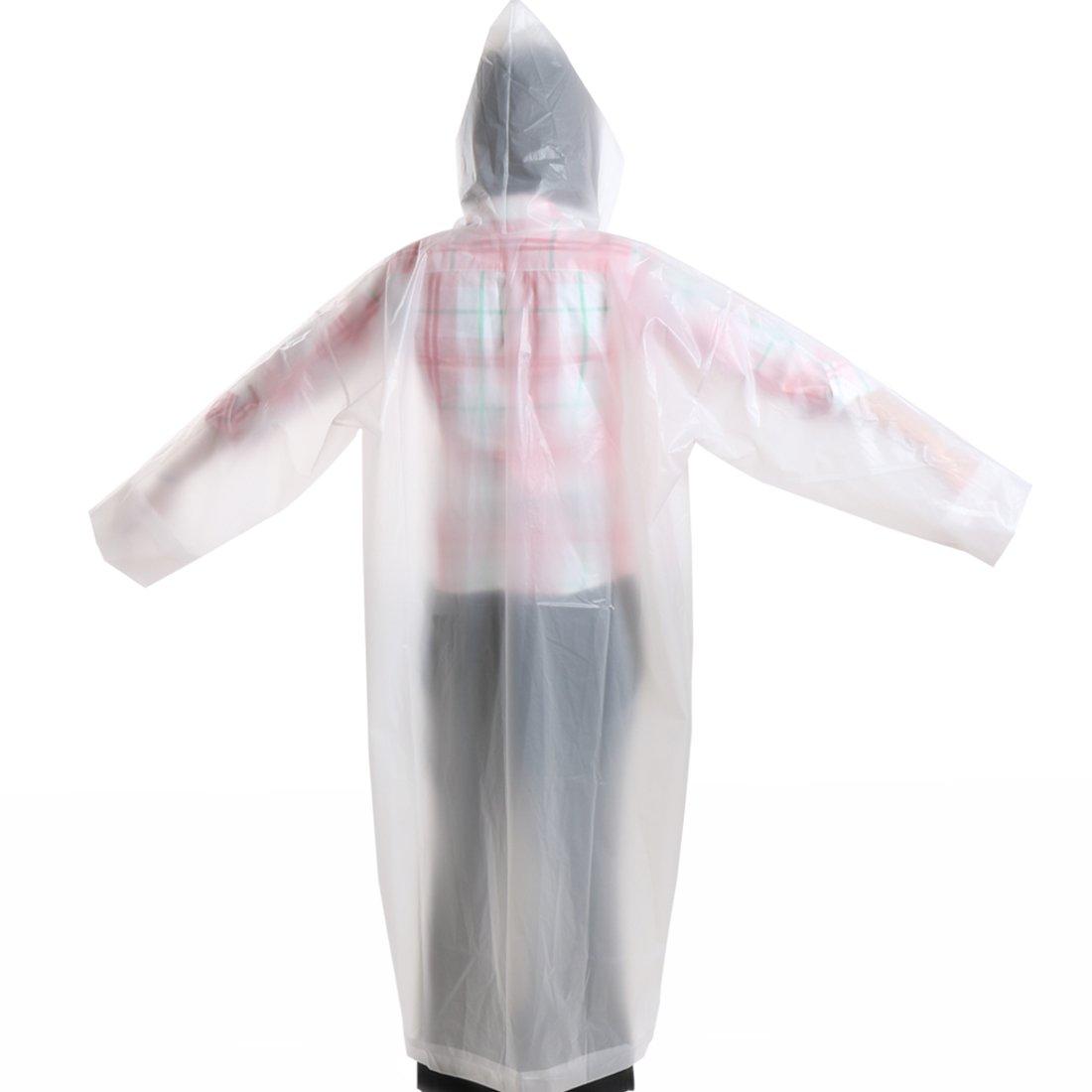 kilofly Waterproof Ultra Light Drawstring Raincoat Long Sleeve Hood Rain Poncho by kilofly (Image #3)