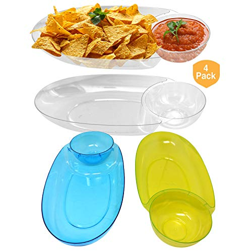 Large Chip & Salsa Dip Tray Dish– for Party 17″ x 8″ x 2.5″ Clear Plastic, Reusable or disposable (4 Pack)