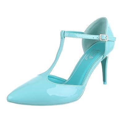 abbdfb0bf14f1 Ital-Design High Heel Damen Schuhe T-Spange Pfennig-/Stilettoabsatz High  Heels Schnalle Pumps Hellblau, Gr 39, Ek-80-