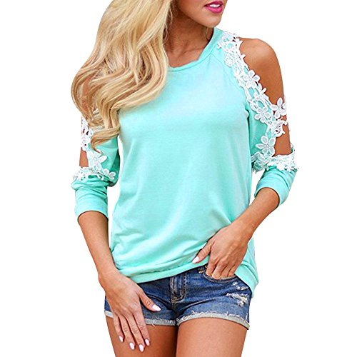 Vanvler Women Long Sleeve Tops Clearance Casual Loose Shirt,Ladies { Off Shoulder Blouse } Lace Casual Shirt (S, Blue)]()
