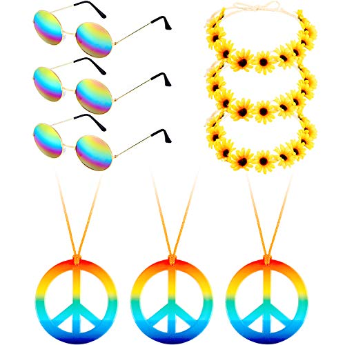 Fiada 9 Pieces Hippie Costume Set, Includes 3 Pieces Hippie Glasses, 3 Pieces Peace Sign Necklaces, 3 Pieces Daisy Sunflower Hairbands for Summer Wearing (Color Set 1) ()