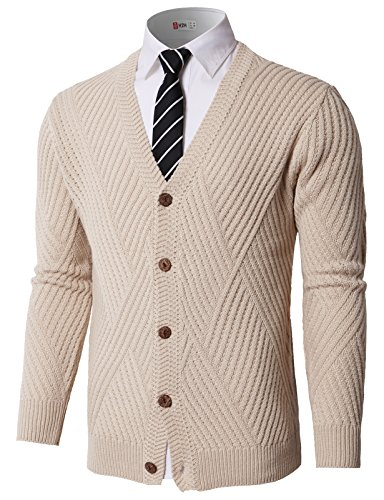H2H Men's Basic Long Sleeve V-Neck Button Down Knitted Cardigan Sweater Beige US 2XL/Asia 2XL (KMOCAL0176) -