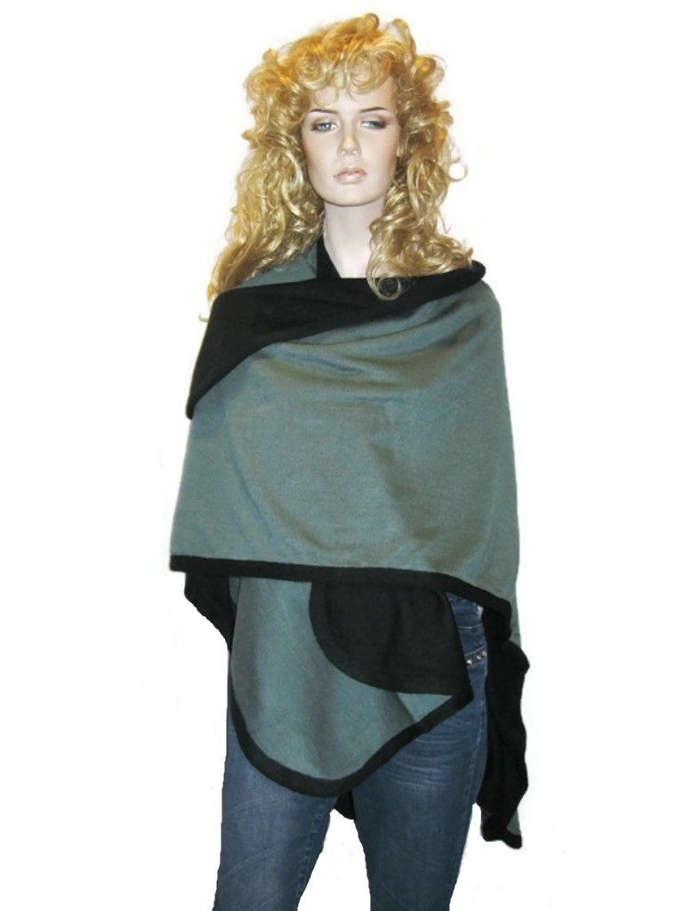 Cashmere Pashmina Group- Cape Woolen Reversible Ruana Knitted Poncho Shawl Cardigans Sweater Coat (Black/ Blue Grey)