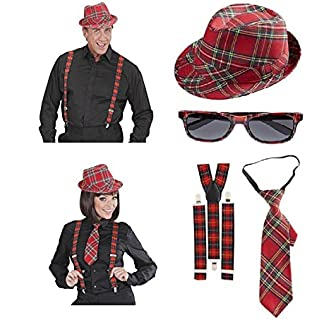STEAMPUNK GOTHIC AVIATOR KIT ADULT ONE SIZE HAT GOGGLES AND BRACES FANCY DRESS