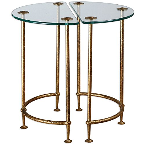Uttermost Metal Pedestal (Uttermost 24337 Aralu Glass Side Tables (Set of 2))