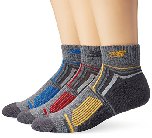 New Balance Men's Performance Ankle Socks (3 Pack), Grey/Blue/Yellow/Red, Size 9-12.5