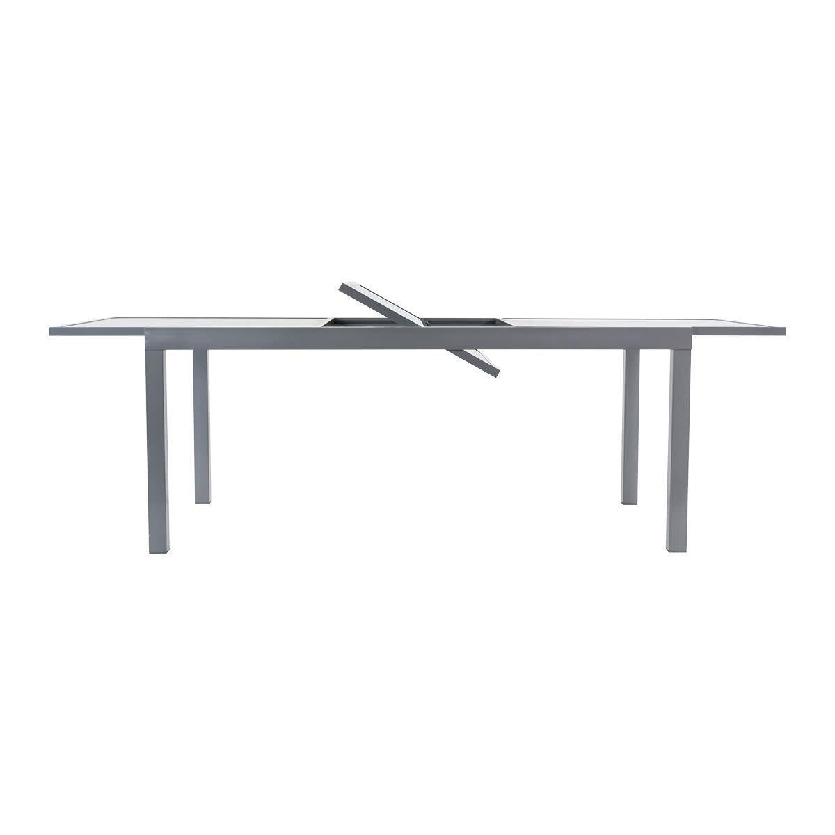Amazon De Gartentisch Futura Ausziehtisch Aluminium Glas Grau