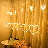 Yezijin Curtain Lights, LED Heart-Shaped Hanging Curtain Lights String Net Xmas Home Party Home Decor (C)