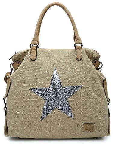 BHSL Canvas Rainproof Fabric Trendy Designer Inspired Large Size Glitter Star Top Handle Tote Hobo Shoulder Bag (Beige)