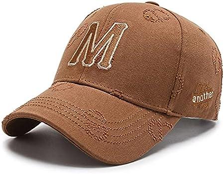 H/A GUOHUU Hombres Populares Hombres Hombres Mujeres Gorra de béisbol M Letra Bordado KPOP Deportes Sombrero Sol Sombreros Sombreros Fashion Street Dance GUOHUU (Color : Brown, tamaño : Talla única)