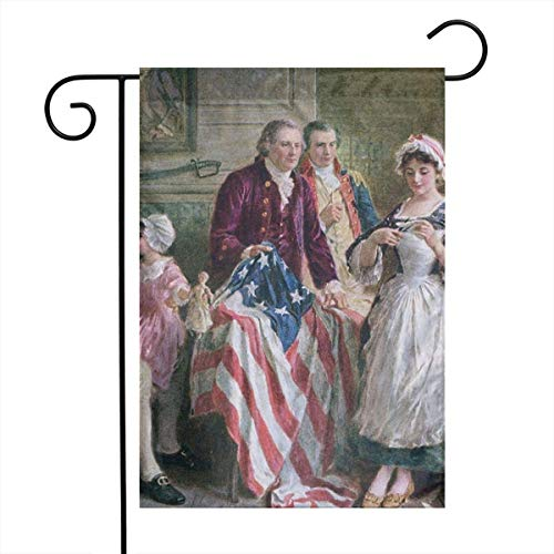 JIAQI Betsy Ross Assortment of 12 X 18 Inch Festive Outdoor Garden Flags - Double Sided Premium Durable Bright Polyester]()