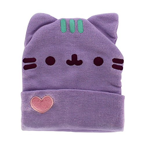 Pusheen Cuffed Beanie With Ears - Purple Pastel With Heart