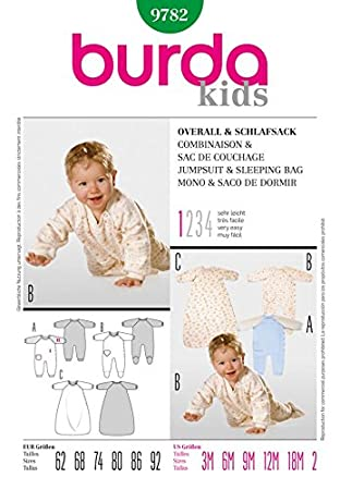 Amazon.com: Burda Toddlers Easy Sewing Pattern 9782 Jumpsuit & Sleeping Bag: Home & Kitchen