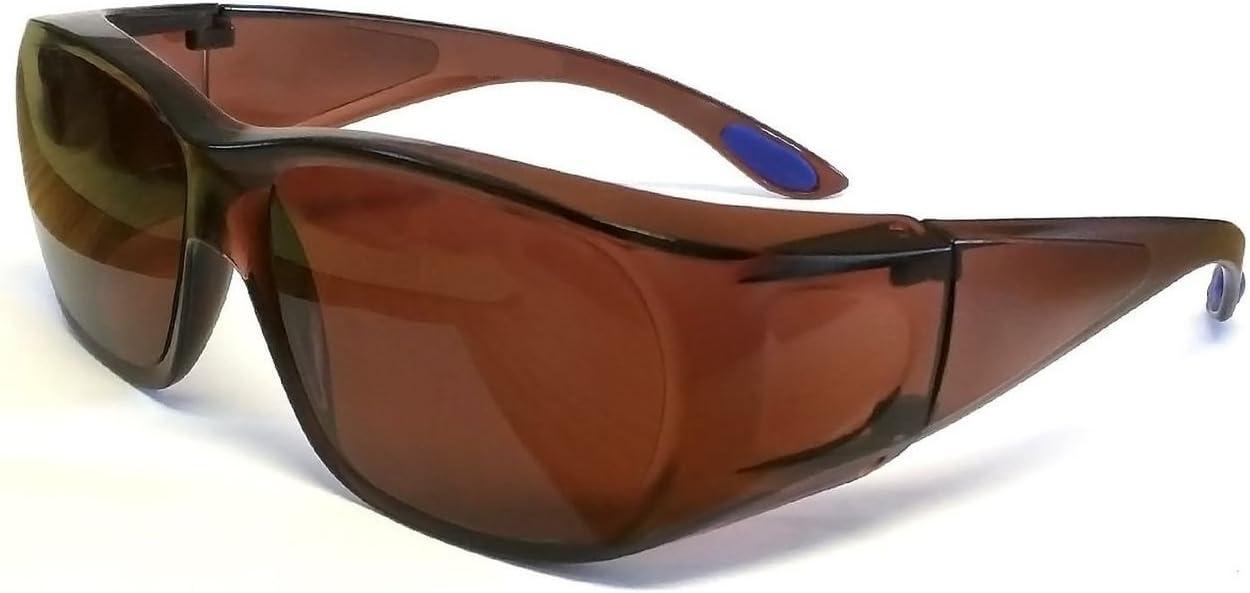 Gafas de conducción sobre marco de policarbonato irrompible, protección UV400, color azul, reduce el desgaste de la lente sobre la bolsa de prescripción
