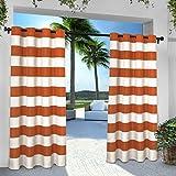 gazebo curtains amazon Exclusive Home Indoor/Outdoor Stripe Cabana Window Curtain Panel Pair with Grommet Top 54x84 Mecca Orange 2 Piece