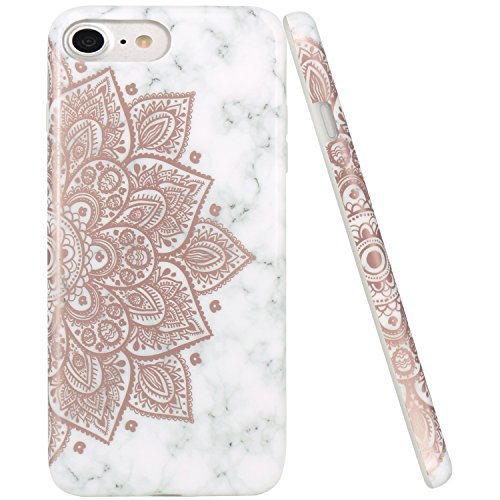JAHOLAN iPhone 7 Case Shiny Rose Gold Mandala Flower Marble Design Clear Bumper TPU Soft Rubber Silicone Cover Phone Case for Apple iPhone 7 / iPhone 8