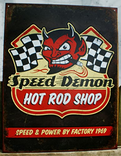 Speed Demon Hot Rod Shop Tin Sign 13 x 16in