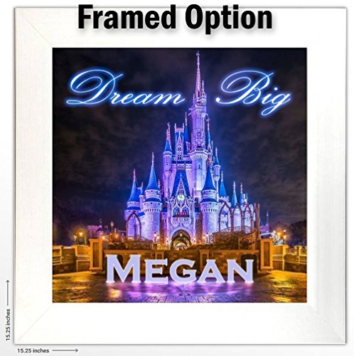 Personalized Girls or Boys Room Wall Art -''Dream Big'' - Disney's Cinderella Castle Print Customized With Your Child's Name by Personalized Signs by Lone Star Art