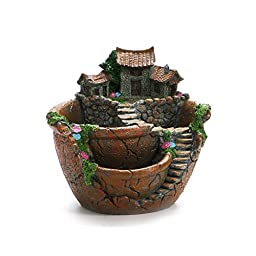 WINOMO Plants Pot Micro Landscape Artificial Flowers Succulent Tiny Creative Flower Pot Holders Hanging Garden Design with Sweet House (Orange)