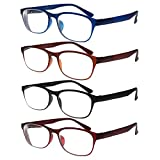 Reading Glasses, TR90 Eyeglasses, Set of 4, for Men & Women, Durable, Flexible, Lightweight, Comfortable Fit - Adjustable Temples +5.00, By OptiPlix