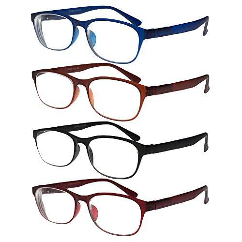 Reading Glasses, TR90 Eyeglasses, Set of 4, for Men & Women, Durable, Flexible, Lightweight, Comfortable Fit - Adjustable Temples +5.00, By - Glasses Costco Frames Optical