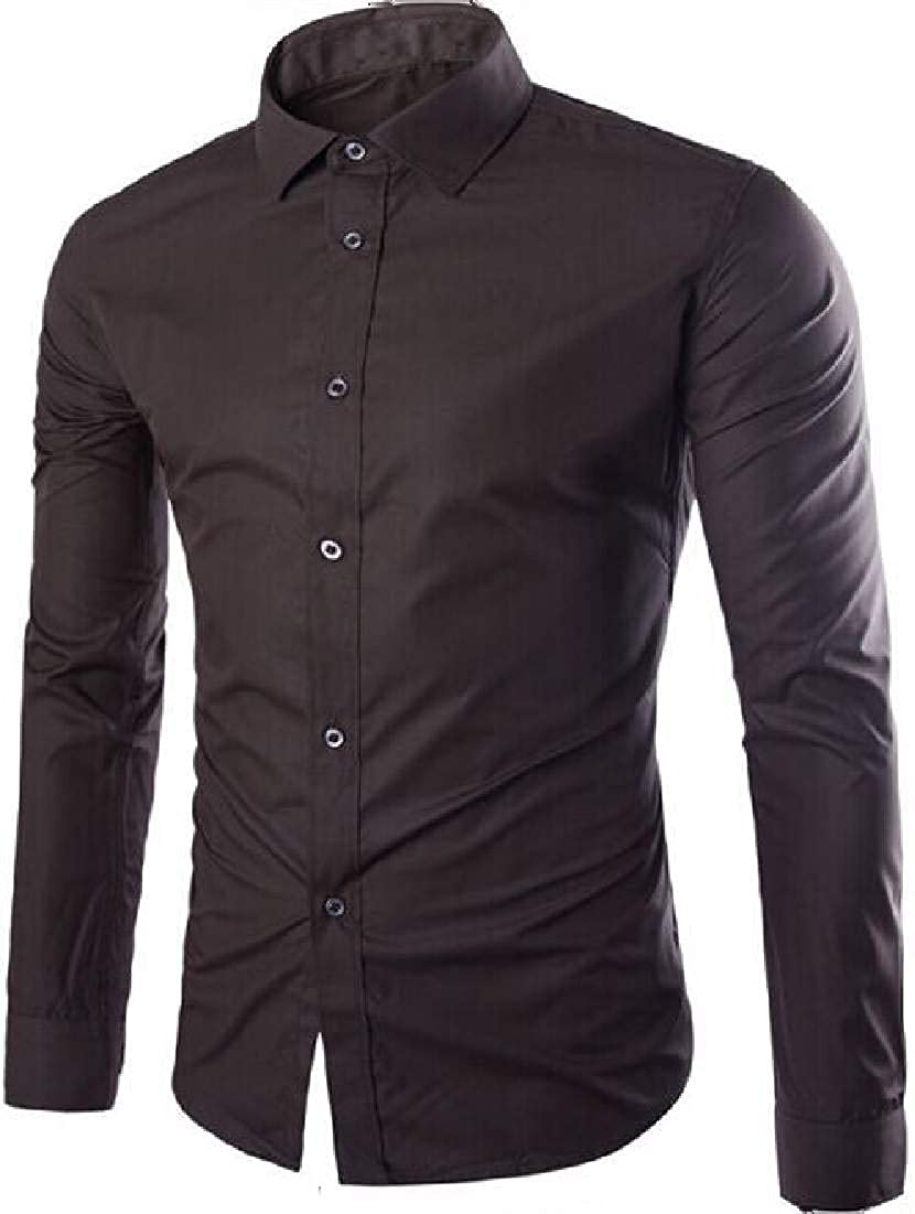 Zantt Mens Casual Long Sleeve Button Front Slim Fit Solid Dress Shirts