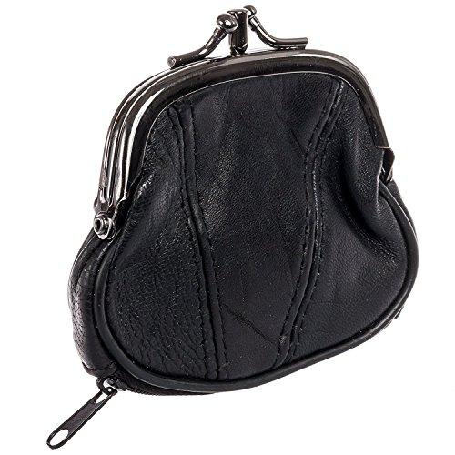 Lock Coin Purse - Marshal Womens Leather Kiss Lock Coin Purse (Black)