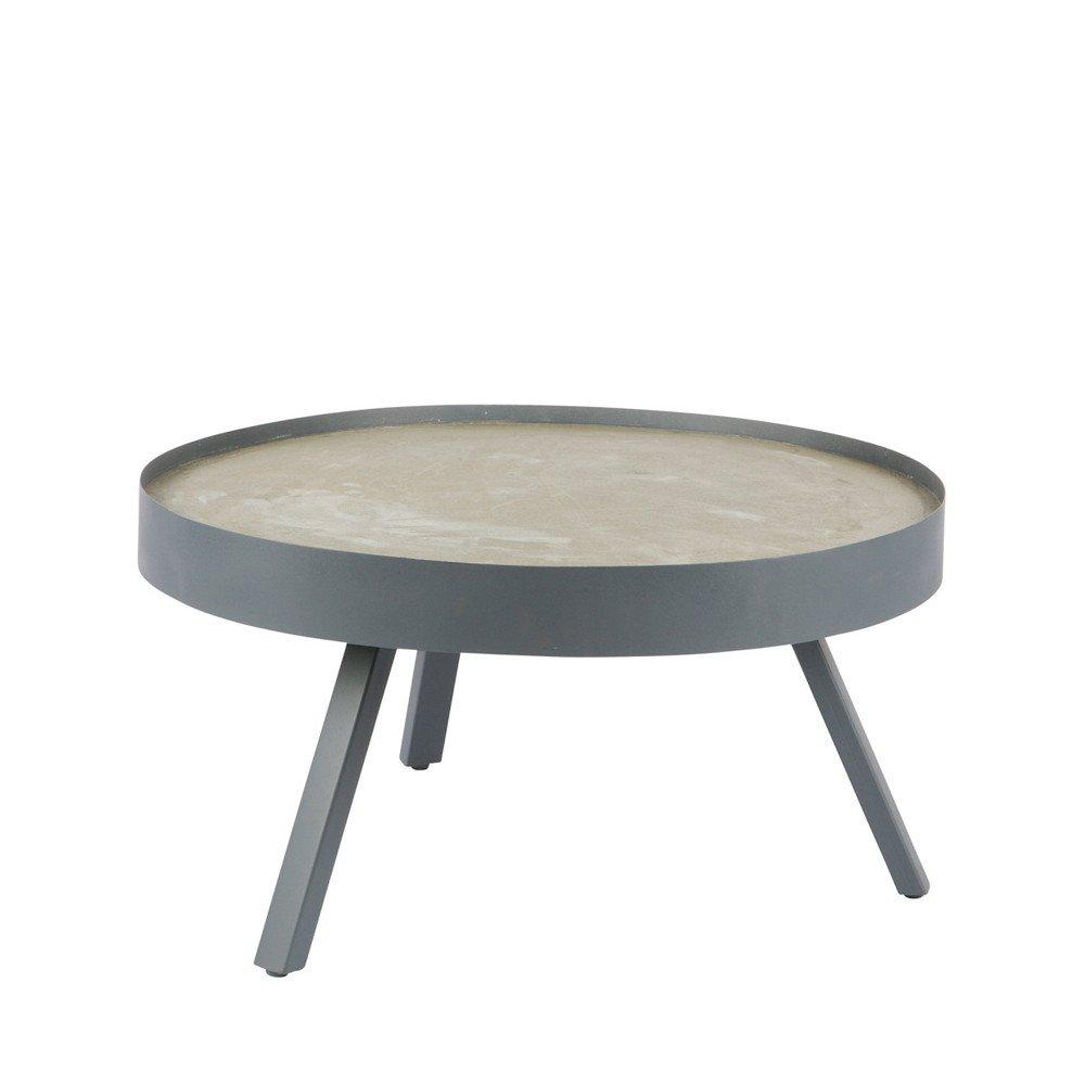 Maison ESTO Vintage Couchtisch Skip Ø 74 cm Metall Beton Sofatisch Beistelltisch Tisch