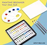 Acrylic Paint Set 24 Colors with 3 brushes, 1