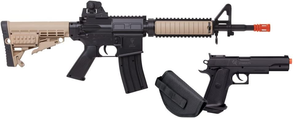GameFace GFR37PKT Warrior Protection Spring-Powered Single-Shot Airsoft Rifle And Pistol Kit With Black Pistol Holster And Ammo, Earth/Black