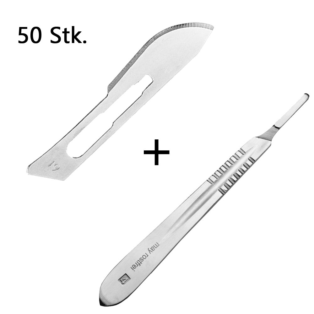 Skalpell-Halter 1 x May Edelstahl Ersatzklingen einzeln steril verpackt Set 50 St/ück Skalpellklingen Figur 19 aus Karbonstahl