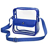 iSPECLE Clear Purse Stadium Approved, Clear Bag Approved for NFL, PGA, NCAA, Adjustable 4.92ft Shoulder Strap for Crossbody Bag, Blue