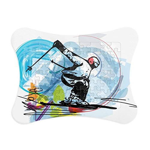 Winter Sport Athletes Freestyle Skiing Illustration Paper Card Puzzle Frame Jigsaw Game Home Decoration Gift