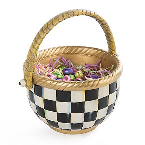 MacKenzie-Childs Mini Flower Basket Handmade in Black and White Courtly Check Print – Small Picnic Basket 4'' Diameter 6'' Tall