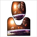 qianhehome Washable Non Slip Bath Mats and Rug Solar System with Planets Outer Space Objects Sun Dark Matter Background for Orange Purple. Sets for Toilet matL23.5 x W22.5-W15 x H18
