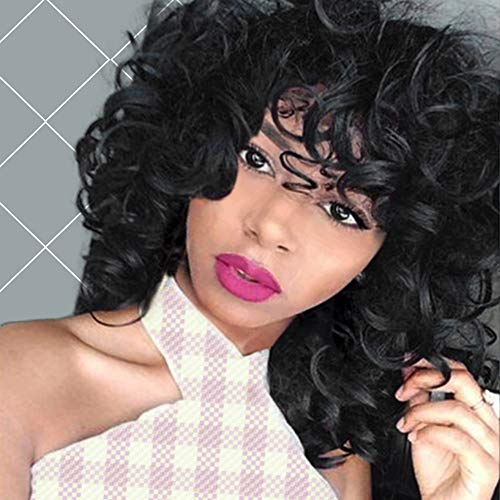 AISI QUEENS Curly Wigs Synthetic Kinky Wig with Bangs Fluffy Wavy Black Hair for Women Natural Looking with Heat Resistant Fiber