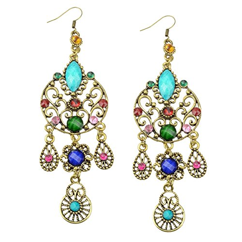 Dangle Earrings SUMAJU Eardrop Hook Teardrop Vintage Earrings Bohemian Long Crystal Multicolor