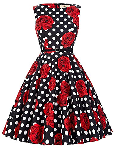 GRACE KARIN Pin Up Wiggle Retro Dress Sleeveless Knee-Length Size 1X F-35]()