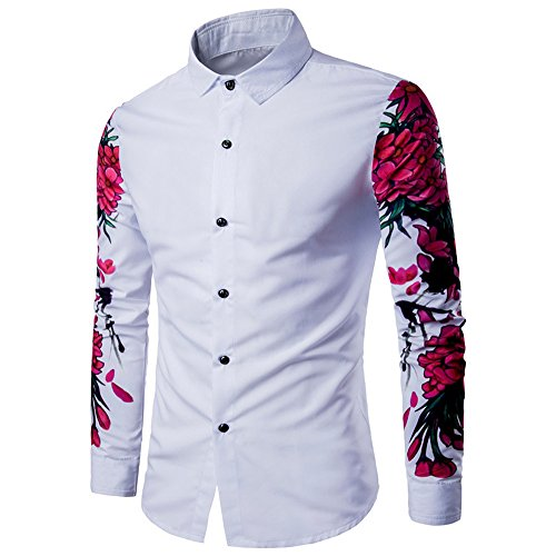 WM & MW Business Shirts, Mens Shirt Cotton Casual Long Sleeve Button-up Slim Fit Floral Print Shirt Lapel Top (M=(US:S), White) (Buttons Lapel Sleeve Collar)