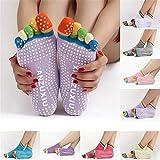 HAIsangyunae 1Pair Anti-Slip Women Ankle Grip Durable Colorful Five Fingers Cotton Full Toe Yoga Socks 6 Colors Blue