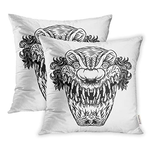 Emvency Set of 2 Throw Pillow Cover Cushion Case Decorative 16 x16 Inch Creepy Scary Cartoon Clown Horror Movie Zombie Face Character Actor Black Drawn Pillowcase Two Sides Print Covers ()