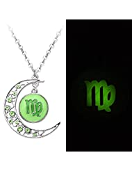 SENFAI 2 Colors Crystal Crescent Moon Virgo Zodiac Sign Constellation Pendant Necklace Horoscope Astrology Disc Necklace Glowing in the Dark