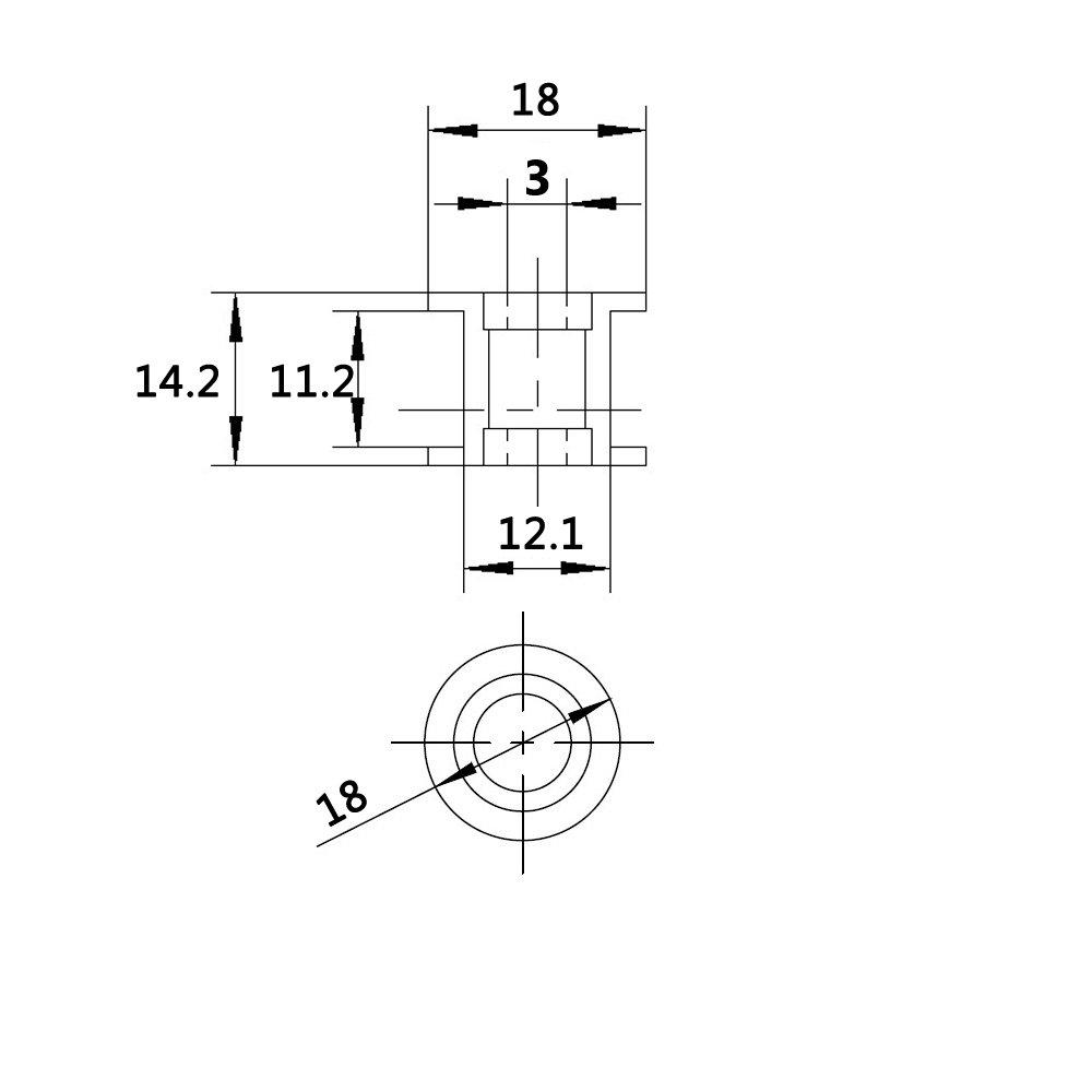 WINSINN 2GT GT2 Aluminum Timing Belt Idler Pulley 20 Toothless 3mm Bore for 3D Printer 10mm Width Timing Belt (Pack of 5Pcs) by WINSINN (Image #2)