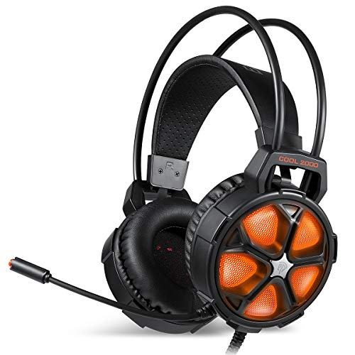 Gaming Headset, EasySMX Cool 2000 Over Ear Stereo Gaming Headphone with Mic and Volume Control, Y Splitter Cable, for PC/MAC/New Xbox One Slim / PS4 / Smartphone/Nintendo Switch, Dynamic LED Light