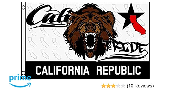 3x5 Black and White California State Flag Grizzly Bear Protest Pennant Cali